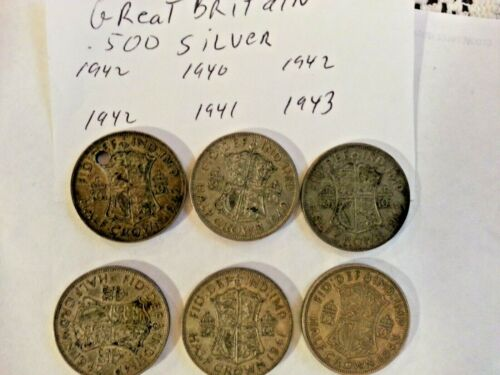 Great Britain Lot of  Silver Coins  half 1/2 crowns  ww2 years 1940-1943 032941