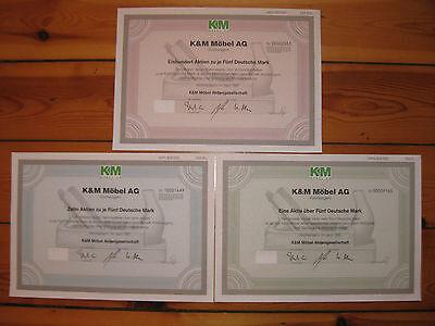 3 Stück K & M Möbel AG aus Kirchlengern über 5 + 50 +500 DM