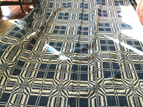 GREAT ANTIQUE  OLD HOME SPUN AND GREAT coverlet 78. x  98 inches in the blue