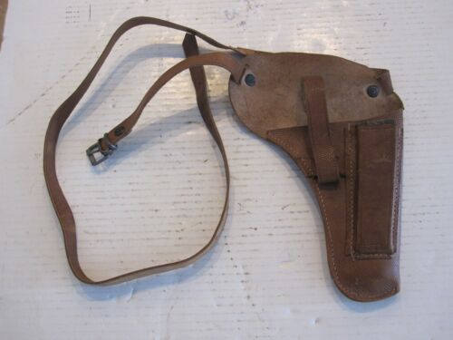 vintage leather holster with empty clip,1940s