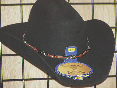 New Bull Hide Cowboy Hat Black Wool Detailed Barbwire Band size 7 078831a6e908