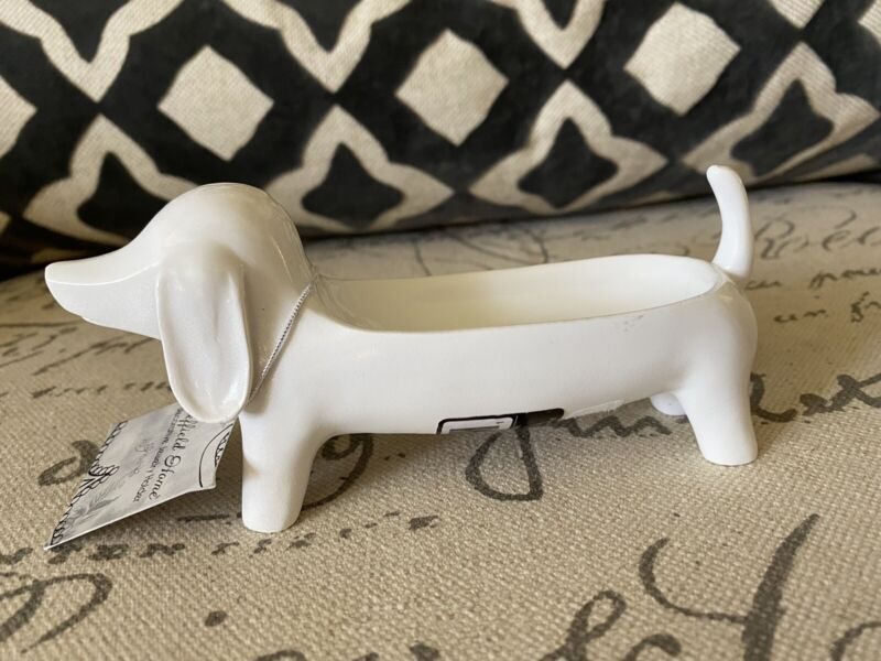 NWT Dachshund Jewelry Ring Holder White Doxie Dog Tray Dish Trinket Gift