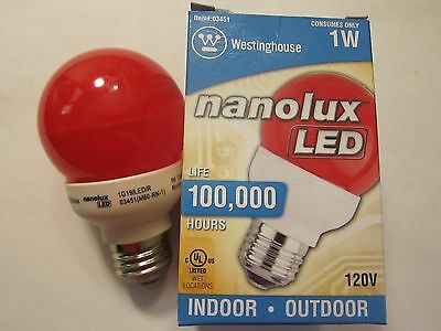 NEW Westinghouse Nanolux LED Light Bulb Red 03451 Indoor Out