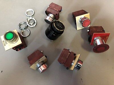 Lighted Estop Buttons Buzzer General Electric P9b10vn 10 Amp 4kv Lot Of 6