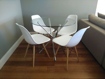 Glass-top table with 4 replica Eames chairs Milsons Point North Sydney Area Preview