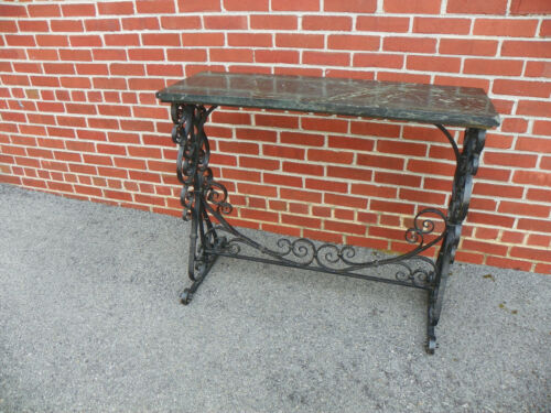 ANTIQUE WROUGHT IRON CONSOLE TABLE W/ MARBLE TOP BACH YELLIN STYLE