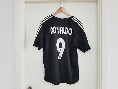 6000e356d RONALDO  9 Real Madrid Adidas Away Football Shirt Jersey 2004 05 (L) Brazil  R9