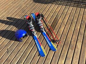 Downhill Skis, Boots, Poles and Helmet