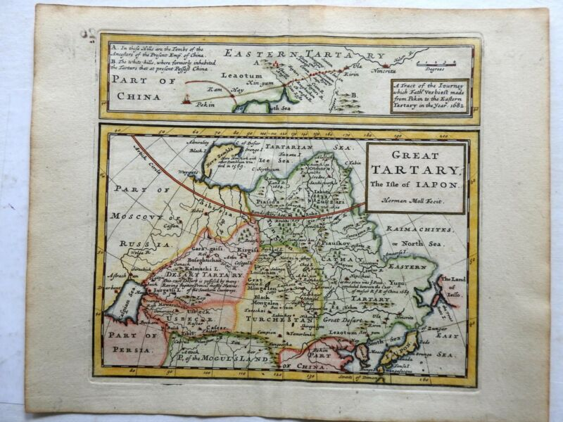 Great Tartary Mongolia China Japan Korea as island 1713 Moll miniature map