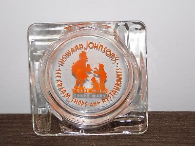 (VINTAGE TOBACCO HOWARD JOHNSON'S ICE CREAM SHOPS & RESTAURANTS GLASS ASHTRAY)