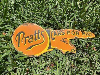 Vintage Pratt's Car For Hire Porcelain Metal Gas Motor Oil Hand Auto Sales Sign