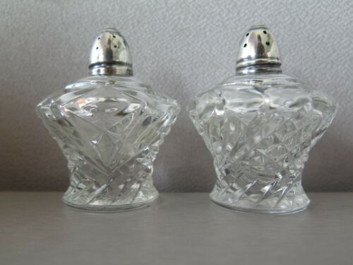 """ANTIQUE Raimond CUT GLASS CRYSTAL And Sterling Top Salt And Pepper Shakers 3"""""""