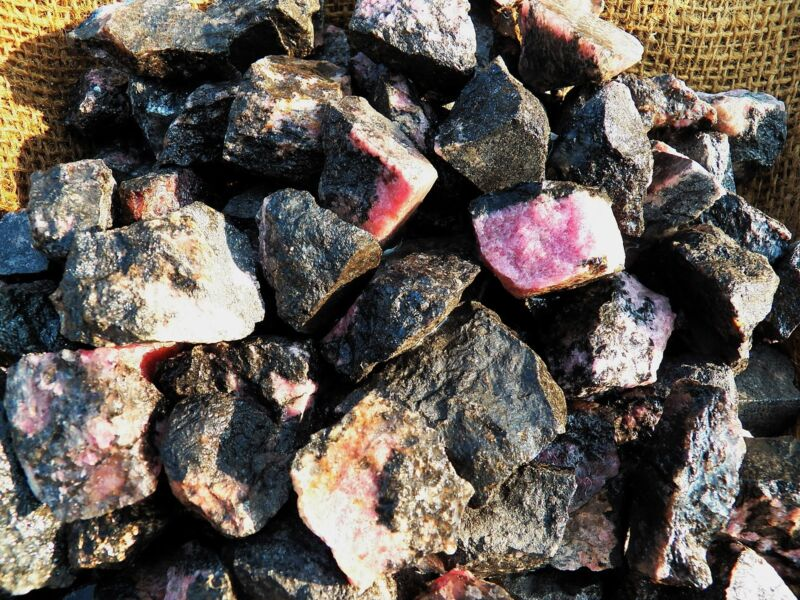 1000 Carat Lots of Unsearched Rhodonite Rough - Plus a FREE Faceted Gemstone