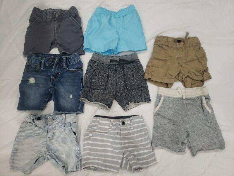 Lot of 8 Boys Shorts Size 12-18M and 18-24M Jean Shorts, Khakis, Swim Trunks