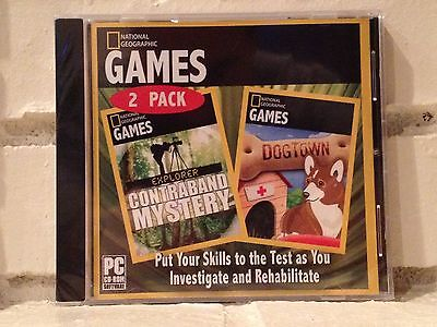 Computer Games - contraband mystery + dogtown --- 2 national geographic computer games --- new