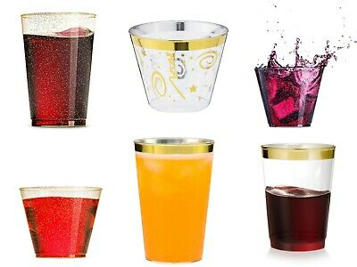 Gold Rimmed Cups, Silver & Gold Glitter Plastic Party Cups 9, 10 & 12 Oz - Gold Party Cups