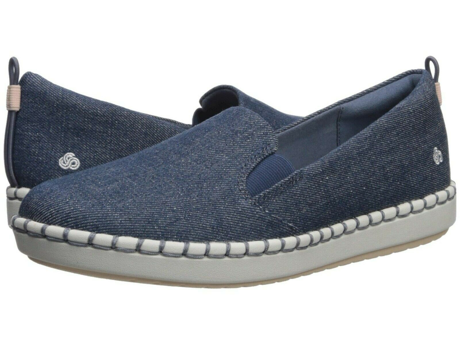 Women's Shoes Clarks Step Glow Slip On 41063 DENIM Textile *NEW*