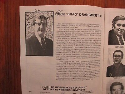 DICK DRANGMEISTER(Died-'05)Signed 1984 Southern Colorado Mens Basketball Program