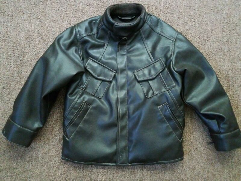 Kids Youth Boys Size 5 Kenneth Cole Reaction faux Leather Jacket Brown C1