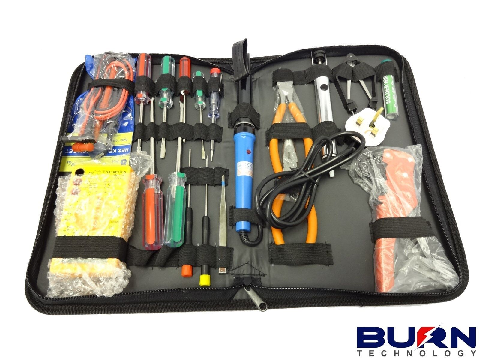 electronics tool kit soldering iron multimeter plus tools ebay. Black Bedroom Furniture Sets. Home Design Ideas