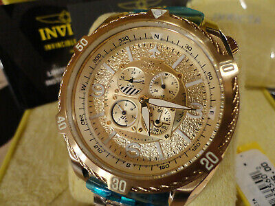 Invicta 28088 52mm Aviator Bolt Flight Series GldTone 4 Dials Bracelet Watch NEW