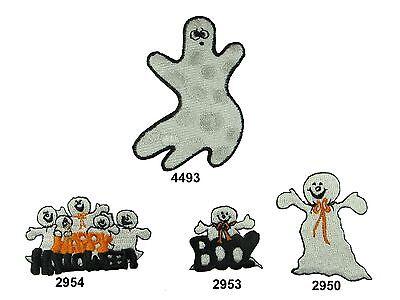 Halloween Ghost w/Happy Halloween Word Embroidery Iron On Applique - Halloween Embroidery Appliques