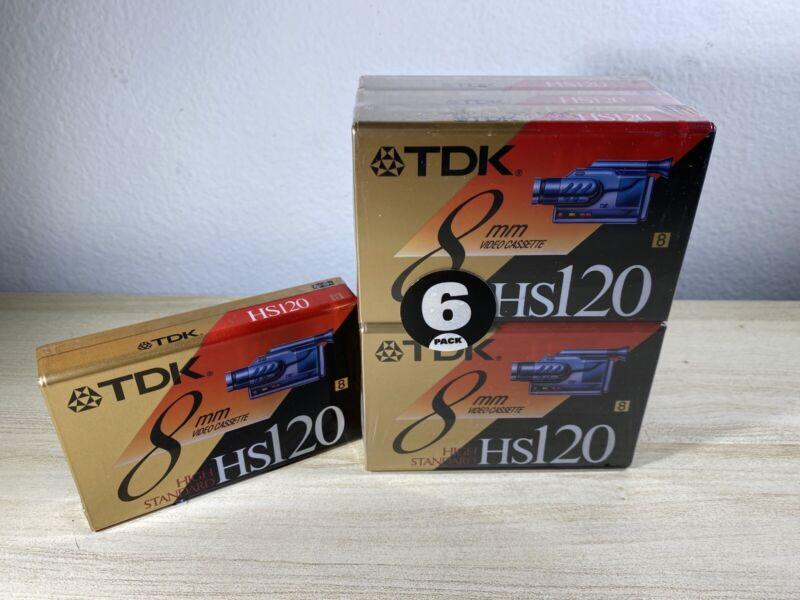 TDK High Standard HS-120 8mm Camcorder Video Tape Lot NOS 7 Tapes Vintage