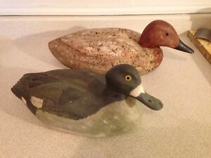 2 Vintage Hand Carved and Painted Wooden Duck Decoys