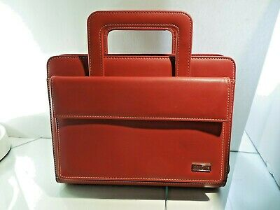 Franklin Covey Day 1 One Planner Binder Red Leather Zip Around Retract Handles