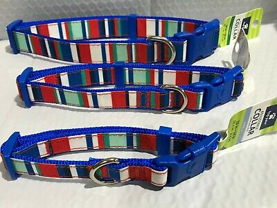 Red/Blue/Green Striped Dog Collar Red Striped Dog Collar