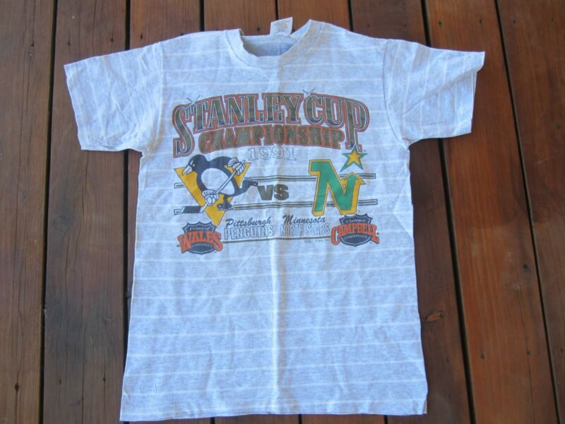 1991 MINNESOTA NORTH STARS PITTSBURGH PENGUINS STANLEY CUP HOCKEY T SHIRT MED