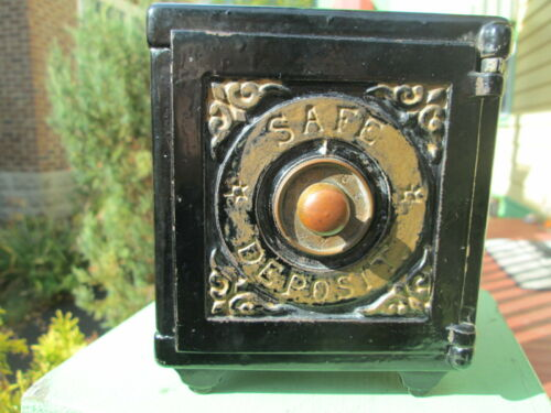 CAST IRON SALESMAN SAMPLE BANK Safe Deposit  TOY Henry C Hart MFG 1885