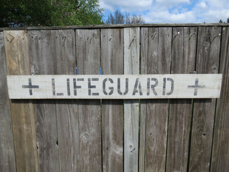 48 INCH WOOD HAND PAINTED LIFEGUARD SIGN NAUTICAL SEAFOOD (#S482)