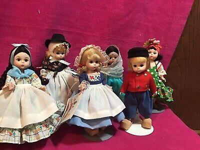 """Lot of 6 Vintage Madame Alexander 8"""" Dolls in original boxes-International Dolls"""