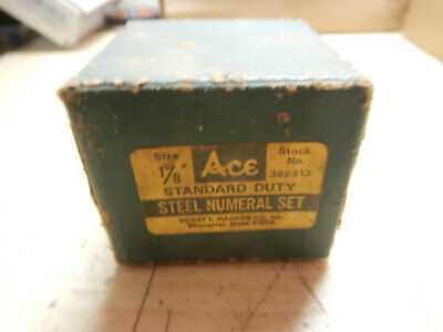 Vintage Hanson Ace 18 Number Stamps In Box Machinist Tool