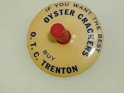 ANTIQUE DATED 1916 OYSTER CRACKER ADVERTISING SPINNING TOP! PARISIAN NOVELTY CO.