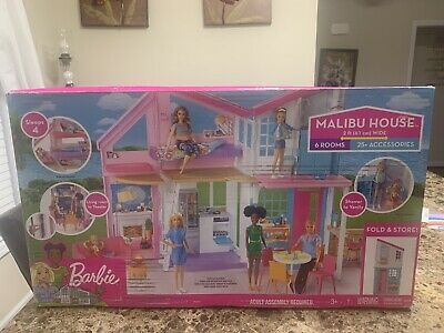 Barbie Malibu 2 Story 6 Room house Playset with over 25 Accessories Damaged Box