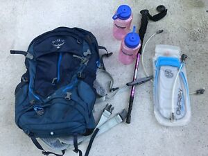 Osprey stratos 34 eclipse blue backpack, camel back,hiking pole,bottle Mornington Mornington Peninsula Preview