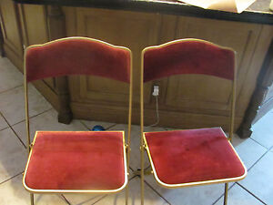 Vintage Pair Red Velvet Folding Chairs Gold Made A Fritz Co New York USA EBay