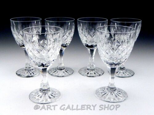 "Royal Brierley Cut Crystal GAINSBOROUGH 5.5"" WINE GOBLETS GLASSES Set of 6"