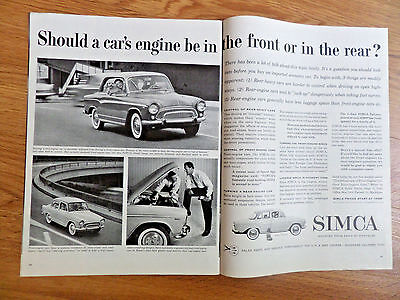 1959 Chrysler Simca Elysee Ad  Should Engine be in the front or in the Rear?