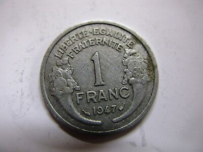 OLD FRENCH 1947 1 FRANC SILVER COLOUR COIN UNUSUAL GIFT NICE COLLECTORS ITEM for sale  Ireland