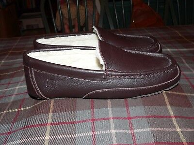 Sperry Top Sider Leather Fleece Lined Slippers/Driving Moccasins, Size 8M US