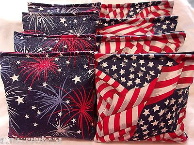 ACA Regulation CornHole Bags Set of 8 USA PATRIOTIC FLAGS + GLITTERY FIREWORKS  for sale  Richmond