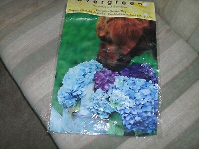 - DOG WITH HYDRANGEA FLOWERS GARDEN FLAG  NEW IN PACKAGE FREE SHIP