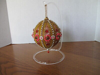 Beads Ornament - VINTAGE LG Beaded FANCY Sequins CHRISTMAS Ornament Gold & Pink HANDMADE
