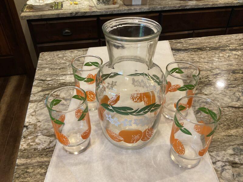Vintage Orange Juice Carafe w/ 4 Glasses ~ Cute Set!