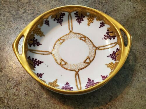 Beautiful Antique PURPLE & GOLD GRAPES Handled Hand Painted PICKARD Bowl Dish