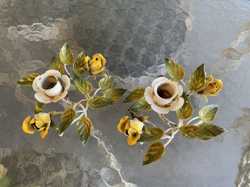 VINTAGE PR ITALIAN TOLE FLORAL YELLOW ROSES CANDLE HOLDERS CHIPPY SHABBY GARDEN