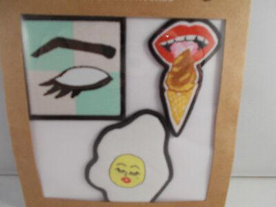 VANS x Kendra Dandy DIY Iron On Patches 3-pack Egg, I Scream (Ice Cream), Eye - X Scream Cream